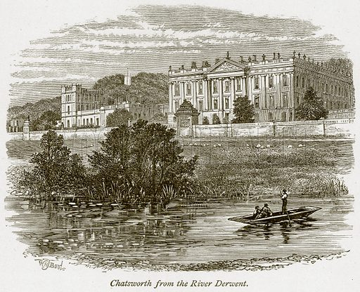 Chatsworth from the River Derwent. Illustration from The Stately Homes of England by Llewellynn Jewitt and SC Hall (Virtue, 1877).