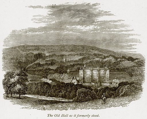 The Old Hall as it Formerly Stood. Illustration from The Stately Homes of England by Llewellynn Jewitt and SC Hall (Virtue, 1877).