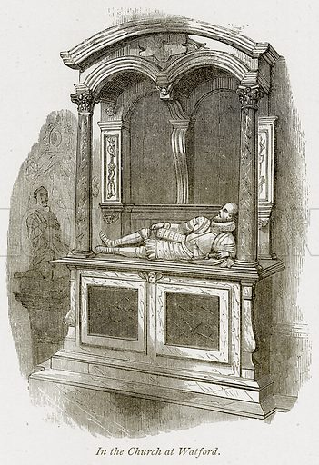 In the Church at Watford. Illustration from The Stately Homes of England by Llewellynn Jewitt and SC Hall (Virtue, 1877).