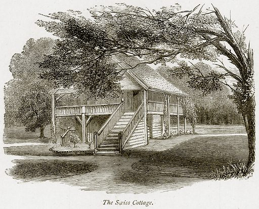The Swiss Cottage. Illustration from The Stately Homes of England by Llewellynn Jewitt and SC Hall (Virtue, 1877).