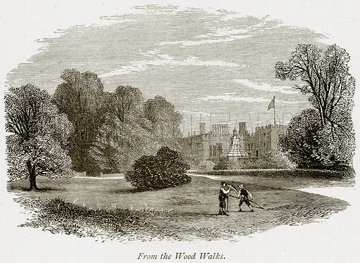 From the Wood Walks. Illustration from The Stately Homes of England by Llewellynn Jewitt and SC Hall (Virtue, 1877).