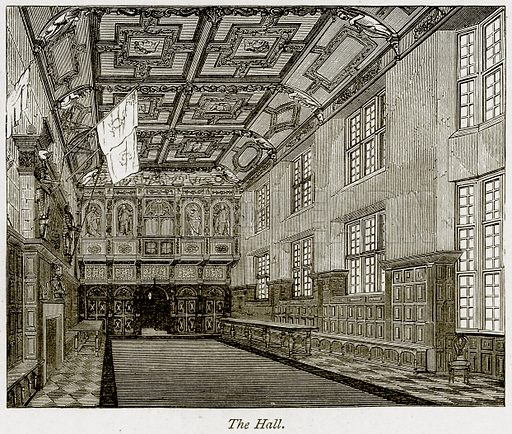 The Hall. Illustration from The Stately Homes of England by Llewellynn Jewitt and SC Hall (Virtue, 1877).