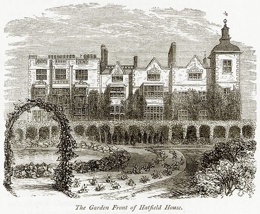 The Garden Front of Hatfield House. Illustration from The Stately Homes of England by Llewellynn Jewitt and SC Hall (Virtue, 1877).