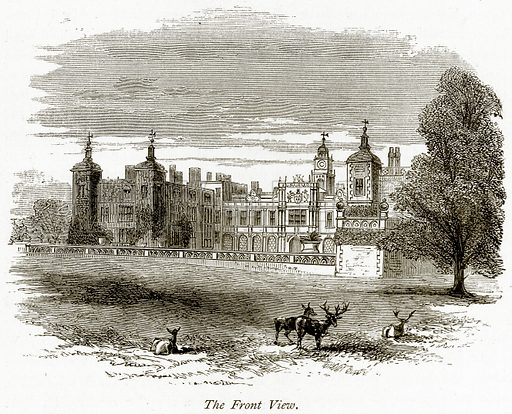 The Front View. Illustration from The Stately Homes of England by Llewellynn Jewitt and SC Hall (Virtue, 1877).