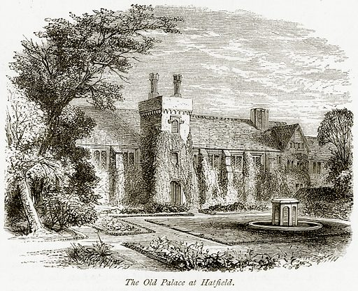 The Old Palace at Hatfield. Illustration from The Stately Homes of England by Llewellynn Jewitt and SC Hall (Virtue, 1877).