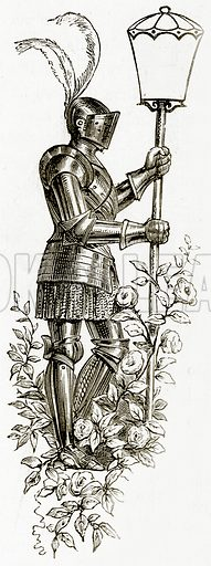 Knight holding lamp (to contain initial). Illustration from The Stately Homes of England by Llewellynn Jewitt and SC Hall (Virtue, 1877).