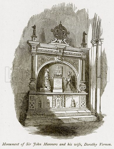 Monument of Sir John Manners and his Wife, Dorothy Vernon. Illustration from The Stately Homes of England by Llewellynn Jewitt and SC Hall (Virtue, 1877).