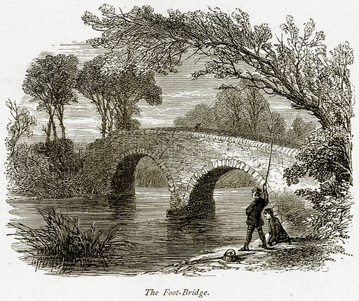 The Foot-Bridge. Illustration from The Stately Homes of England by Llewellynn Jewitt and SC Hall (Virtue, 1877).