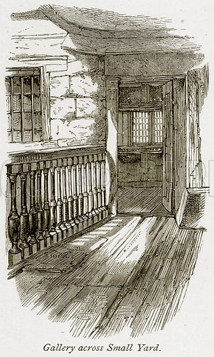 Gallery across Small Yard. Illustration from The Stately Homes of England by Llewellynn Jewitt and SC Hall (Virtue, 1877).