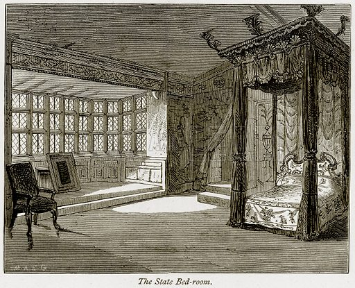 The State Bed-Room. Illustration from The Stately Homes of England by Llewellynn Jewitt and SC Hall (Virtue, 1877).