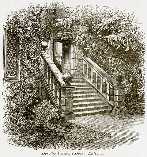 Dorothy Vernon's Door: Exterior. Illustration from The Stately Homes of England by Llewellynn Jewitt and SC Hall (Virtue, 1877).