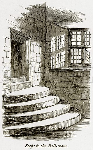 Steps to the Ball-Room. Illustration from The Stately Homes of England by Llewellynn Jewitt and SC Hall (Virtue, 1877).