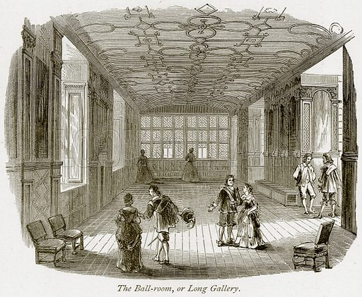 The Ball-Room, or Long Gallery. Illustration from The Stately Homes of England by Llewellynn Jewitt and SC Hall (Virtue, 1877).
