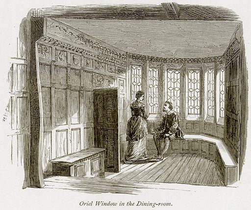 Oriel Window in the Dining-Room. Illustration from The Stately Homes of England by Llewellynn Jewitt and SC Hall (Virtue, 1877).