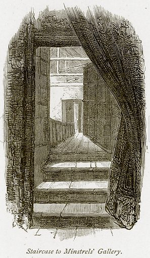 Staircase to Minstrels' Gallery. Illustration from The Stately Homes of England by Llewellynn Jewitt and SC Hall (Virtue, 1877).