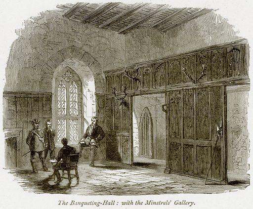 The Banqueting-Hall: with the Minstrels' Gallery. Illustration from The Stately Homes of England by Llewellynn Jewitt and SC Hall (Virtue, 1877).