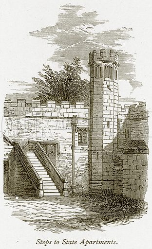 Steps to State Apartments. Illustration from The Stately Homes of England by Llewellynn Jewitt and SC Hall (Virtue, 1877).