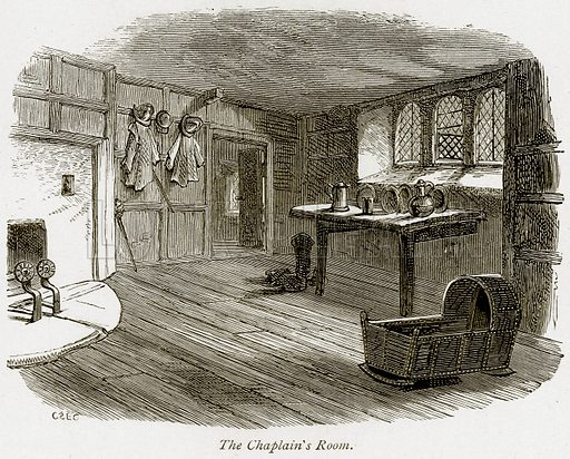 The Chaplain's Room. Illustration from The Stately Homes of England by Llewellynn Jewitt and SC Hall (Virtue, 1877).