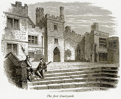 The First Court-Yard. Illustration from The Stately Homes of England by Llewellynn Jewitt and SC Hall (Virtue, 1877).