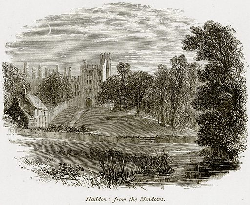 Haddon: from the Meadows. Illustration from The Stately Homes of England by Llewellynn Jewitt and SC Hall (Virtue, 1877).