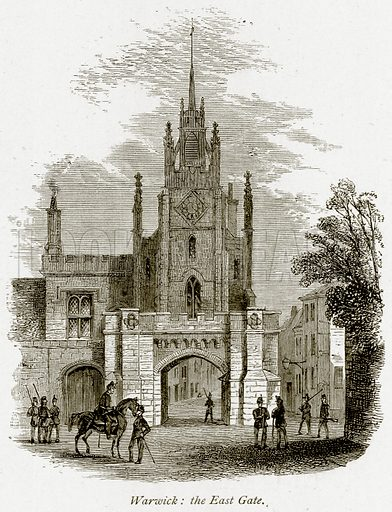 Warwick: the East Gate. Illustration from The Stately Homes of England by Llewellynn Jewitt and SC Hall (Virtue, 1877).