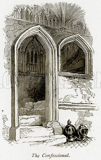 The Confessional. Illustration from The Stately Homes of England by Llewellynn Jewitt and SC Hall (Virtue, 1877).