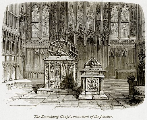 The Beauchamp Chapel, Monument of the Founder. Illustration from The Stately Homes of England by Llewellynn Jewitt and SC Hall (Virtue, 1877).