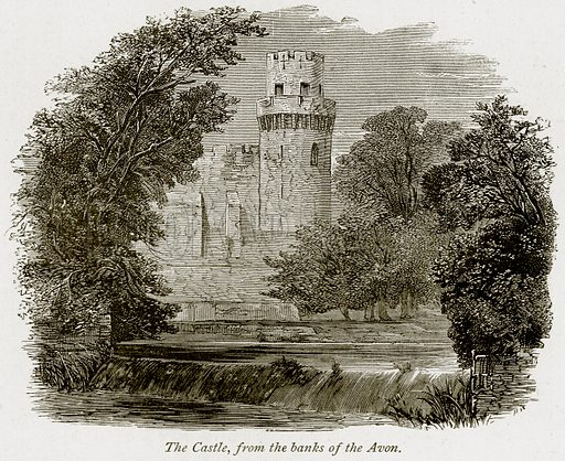 The Castle, from the Banks of the Avon. Illustration from The Stately Homes of England by Llewellynn Jewitt and SC Hall (Virtue, 1877).
