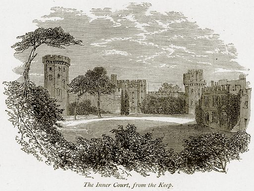 The Inner Court, from the Keep. Illustration from The Stately Homes of England by Llewellynn Jewitt and SC Hall (Virtue, 1877).