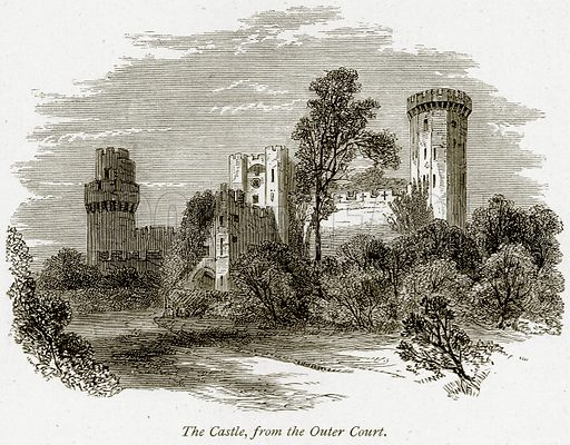 The Castle, from the Outer Court. Illustration from The Stately Homes of England by Llewellynn Jewitt and SC Hall (Virtue, 1877).