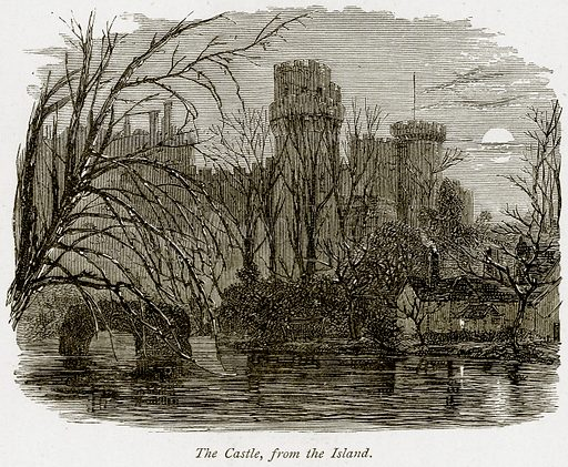 The Castle, from the Island. Illustration from The Stately Homes of England by Llewellynn Jewitt and SC Hall (Virtue, 1877).