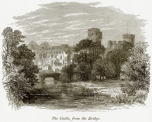 The Castle, from the Bridge. Illustration from The Stately Homes of England by Llewellynn Jewitt and SC Hall (Virtue, 1877).