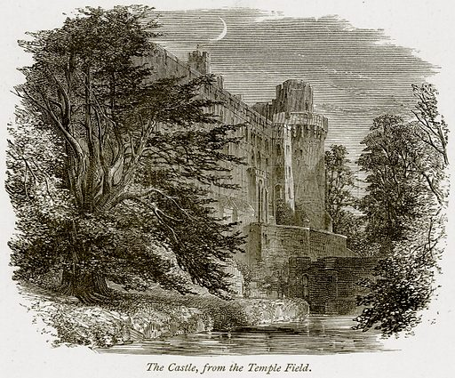 The Castle, from the Temple Field. Illustration from The Stately Homes of England by Llewellynn Jewitt and SC Hall (Virtue, 1877).