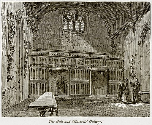 The Hall and Minstrels' Gallery. Illustration from The Stately Homes of England by Llewellynn Jewitt and SC Hall (Virtue, 1877).