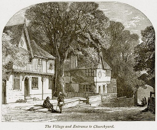The Village and Entrance to Churchyard. Illustration from The Stately Homes of England by Llewellynn Jewitt and SC Hall (Virtue, 1877).