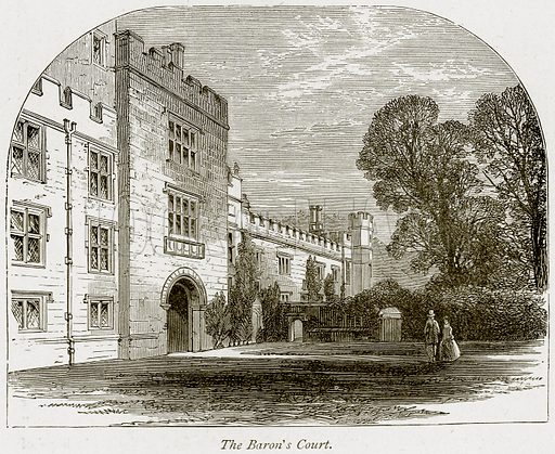 The Baron's Court. Illustration from The Stately Homes of England by Llewellynn Jewitt and SC Hall (Virtue, 1877).