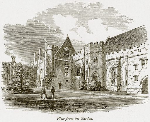 View from the Garden. Illustration from The Stately Homes of England by Llewellynn Jewitt and SC Hall (Virtue, 1877).