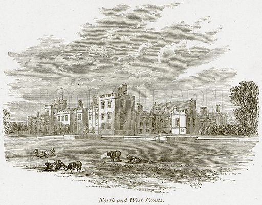 North and West Fronts. Illustration from The Stately Homes of England by Llewellynn Jewitt and SC Hall (Virtue, 1877).