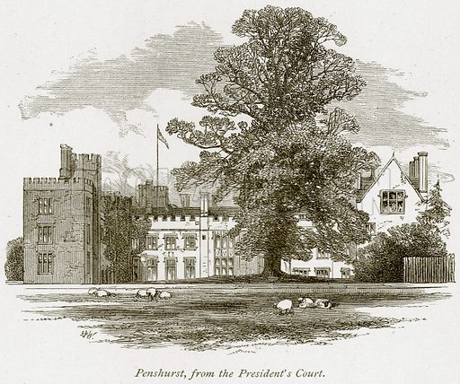 Penshurst, from the President's Court. Illustration from The Stately Homes of England by Llewellynn Jewitt and S C Hall (Virtue, 1877).