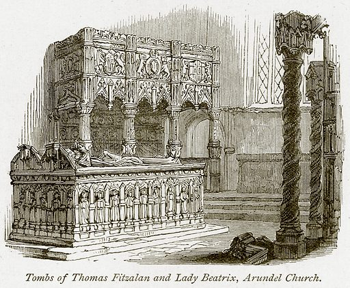 Tombs of Thomas Fitzalan and Lady Beatrix, Arundel Church. Illustration from The Stately Homes of England by Llewellynn Jewitt and SC Hall (Virtue, 1877).