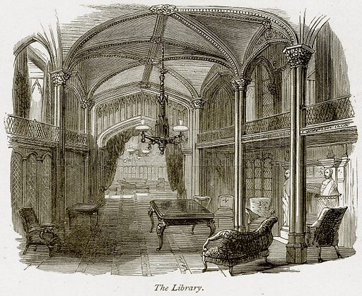 The Library. Illustration from The Stately Homes of England by Llewellynn Jewitt and SC Hall (Virtue, 1877).