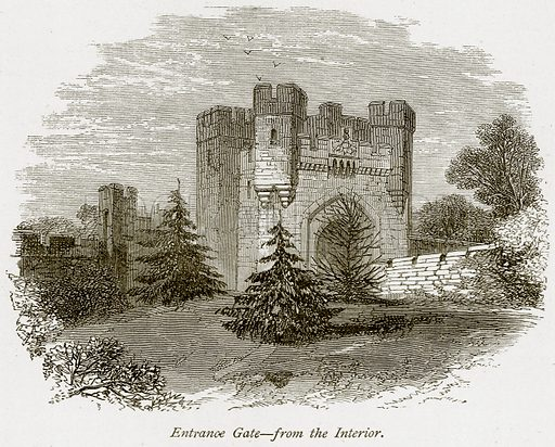 Entrance Gate – From the Interior. Illustration from The Stately Homes of England by Llewellynn Jewitt and SC Hall (Virtue, 1877).