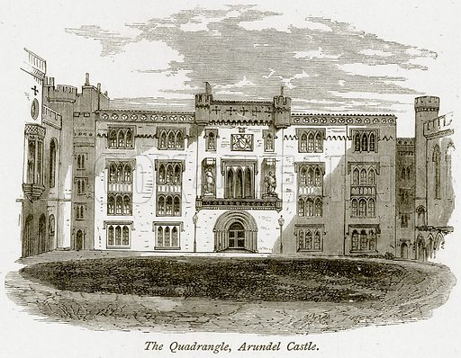 The Quadrangle, Arundel Castle. Illustration from The Stately Homes of England by Llewellynn Jewitt and SC Hall (Virtue, 1877).