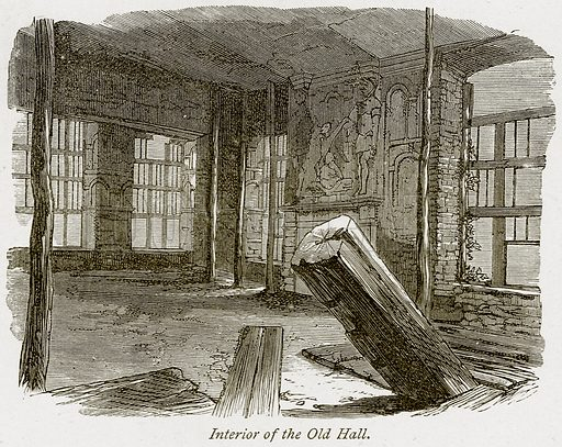 Interior of the Old Hall. Illustration from The Stately Homes of England by Llewellynn Jewitt and SC Hall (Virtue, 1877).
