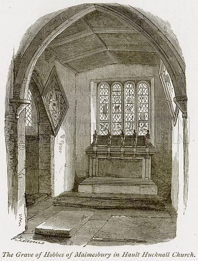 The Grave of Hobbes of Malmesbury in Hault Hucknall Church. Illustration from The Stately Homes of England by Llewellynn Jewitt and SC Hall (Virtue, 1877).