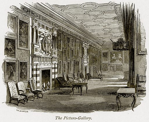 The Picture-Gallery. Illustration from The Stately Homes of England by Llewellynn Jewitt and SC Hall (Virtue, 1877).