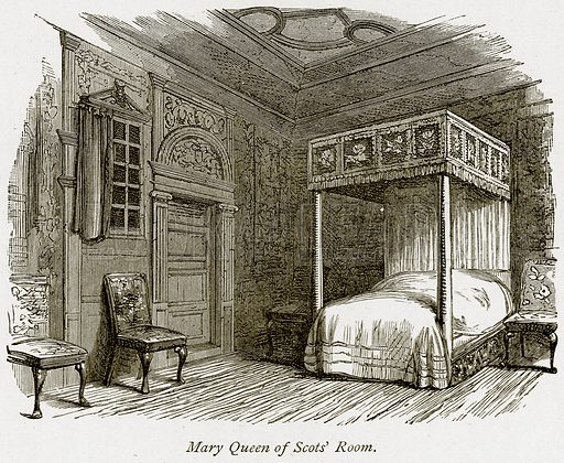 Mary Queen of Scots' Room. Illustration from The Stately Homes of England by Llewellynn Jewitt and SC Hall (Virtue, 1877).