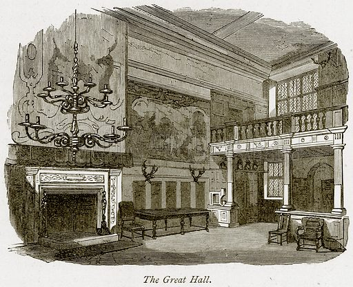 The Great Hall. Illustration from The Stately Homes of England by Llewellynn Jewitt and SC Hall (Virtue, 1877).