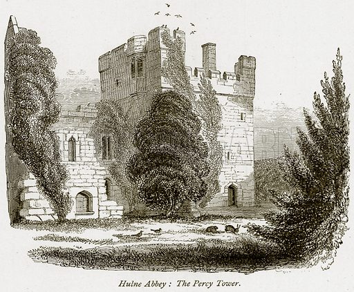 Hulne Abbey: The Percy Tower. Illustration from The Stately Homes of England by Llewellynn Jewitt and SC Hall (Virtue, 1877).