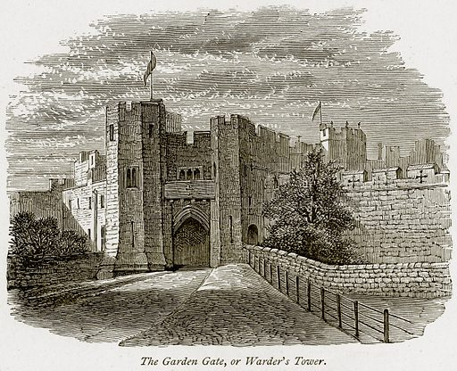The Garden Gate, or Warder's Tower. Illustration from The Stately Homes of England by Llewellynn Jewitt and SC Hall (Virtue, 1877).